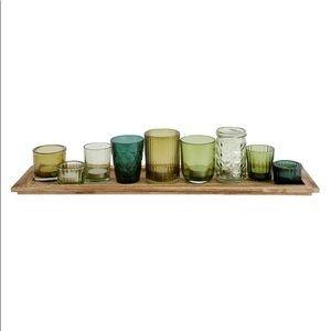 Green Glass Votive Holder & Wood Tray Set